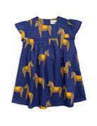 Mini Rodini: Horse Woven Frill Dress, Navy