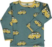 Småfolk: Long-sleeved Car Shirt, bluestone