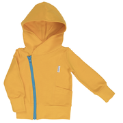 Gugguu: College Hoodie, Sunny Yellow with Turquoise Blue Zip