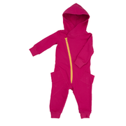 Gugguu: College Jumpsuit, Bright Rose with Sunny Yellow Zip