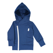 Gugguu: College Hoodie, Deep Blue With White Grey Zipper