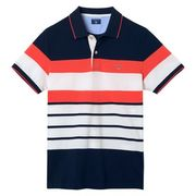 Gant: Multi Stripe Pique SS Rugger, Evening Blue