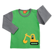 Lipfish: Shirt with excavator, green/grey