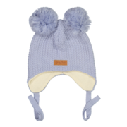Gugguu: Double tuft hat with ear flaps, Stone blue
