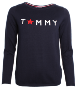 Tommy Hilfiger: Abbi Statement Boat-Neck Sweater, Navy