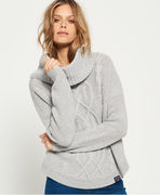 Superdry: Lia Cable Cowl Neck Jumper, grey marl