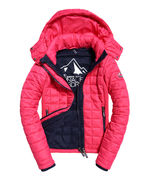 Superdry: Hooded Box Quilt Fuji Jacket, sport code pink