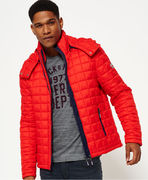 Superdry: Hooded Box Quilt Fuji Jacket, sport code red