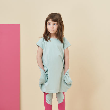 Papu:KANTO DRESS, Plankton green, short sleeve