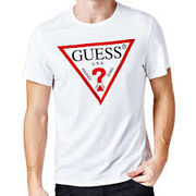 Guess Mens Original Logo Triangle T-Shirt - White
