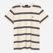 Gant: D1. Heavy Jersey Striped T-shirt, White