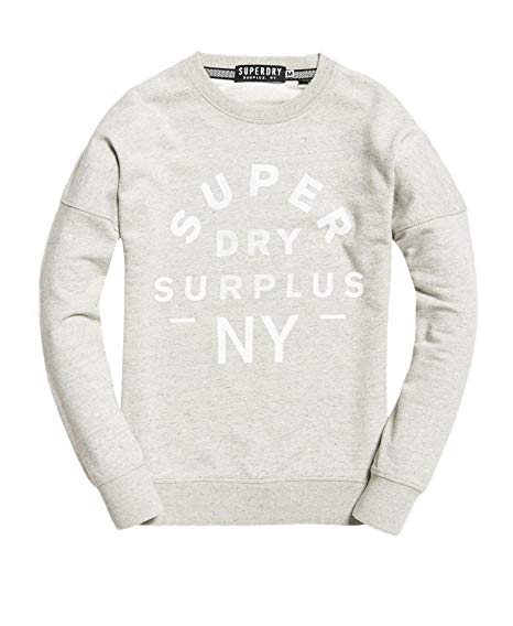 Superdry: Surplus goods low rider crew jumper, Avenue grey feeder stripe