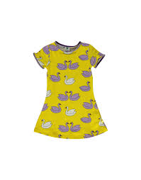 Småfolk: Dress with Swans yellow
