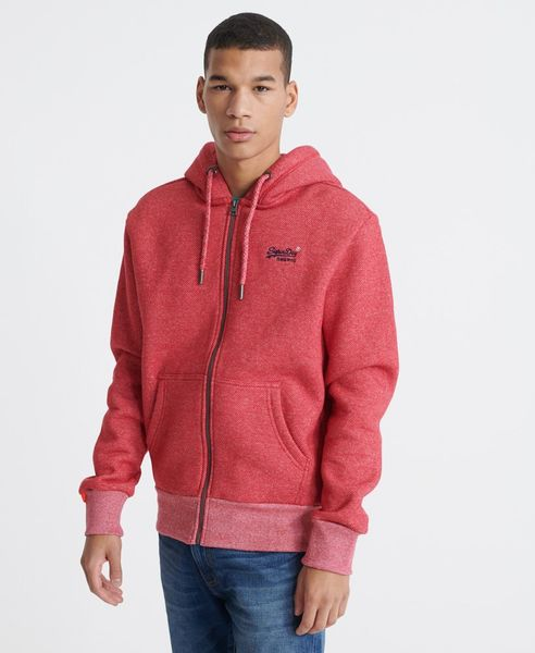 Superdry Orange label classic ziphood, Red twill